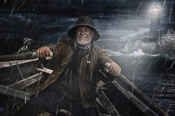 Old Man and the Sea. Salty Dog rowing towards a lighthouse in a storm